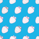 Trendy youthful seamless pattern  with funny white strawberries on light blue background. Can be used in your project or printing Stock Photo