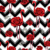 Trendy zigzag lines print embroidered red roses and flamingo seamless pattern vector illustration
