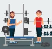 Trener trzyma sesi szkoleniowa z młodym człowiekiem Facet robi ćwiczeniu z barbell Gym wyposażenie na tle Płaski wektor royalty ilustracja