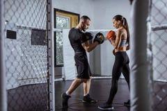 Trenera i kobiety bokser zdjęcia royalty free