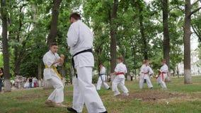 Trenera kyokushin wydaje sztuki samoobrony trenuje w parka, grupy sport, dzieci w kimonie uczestniczą w karate outdoors zdjęcie wideo