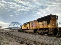 Trenes al azar en Atchison Kansas foto de archivo libre de regalías