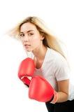 Trenes de la muchacha con los guantes de boxeo Fotografía de archivo