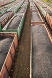 Trenes del carbón en la estación Imagen de archivo libre de regalías