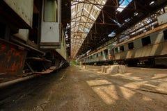 Trenes del cargo en depósito de tren viejo fotografía de archivo
