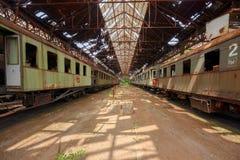 Trenes del cargo en depósito de tren viejo foto de archivo