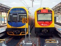 Trenes del gobierno de NSW, intercambio de Newcastle, Australia foto de archivo libre de regalías