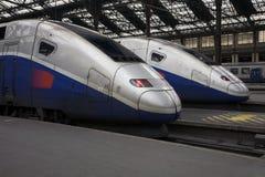 Trenes del TGV en el Gare de Lyon de París Fotografía de archivo libre de regalías