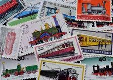 Trenes en sellos Fotos de archivo