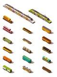 Trenes isométricos del vector stock de ilustración