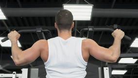 Trenes musculares jovenes del hombre en el gimnasio Atleta del entrenamiento del peso imágenes de archivo libres de regalías