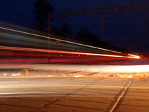 Trenes nocturnos Fotos de archivo libres de regalías