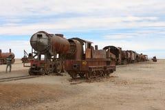 Trenes que aherrumbran Imagen de archivo libre de regalías