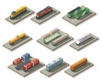 Trenes y coches isométricos Fotografía de archivo