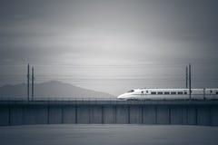 Treni ad alta velocità sul ponte attraverso del fiume in Cina Fotografie Stock Libere da Diritti