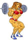 Treni atletici della ragazza con il bilanciere pesante illustrazione di stock