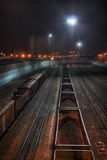Treni commerciali alla notte Immagine Stock Libera da Diritti