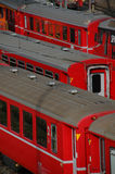 Treni di colore rosso Fotografia Stock