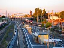 Treni di ferrovia, Berlin Germany Fotografia Stock