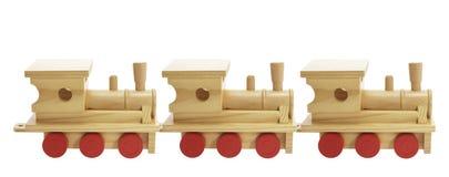 Treni di legno del giocattolo Fotografie Stock