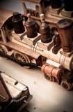 Treni di legno Handmade del giocattolo Fotografia Stock Libera da Diritti