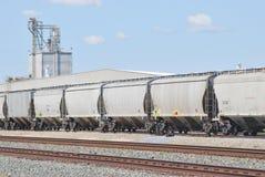 Treni di trasporto ed impianto di lavorazione fotografia stock libera da diritti