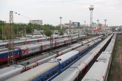 Treni sulla ferrovia Fotografia Stock Libera da Diritti