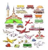 Treni, vagoni ed aeroplani messi Immagini Stock