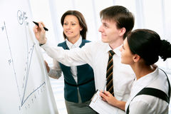 Trening. Young businessman presenting his ideas on whiteboard to colleagues Stock Photos