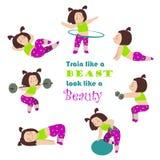 Trening sprawności fizycznej dziewczyny Zdjęcia Royalty Free
