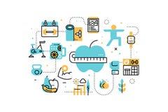 Treningu ćwiczenie i diet kreskowe ikony ilustracyjne ilustracji