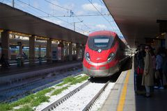 Trenitalia high-speed train arrives on the central railway station, Florence. Italy Stock Image