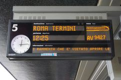 Trenitalia high speed train in Italy. VENICE, ITALY -29 APRIL 2015- Trenitalia high speed trains (Italo, Frecciarossa and Frecciabianca) and regional trains stop Royalty Free Stock Photography