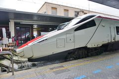 Trenitalia high speed trains (Italo, Frecciarossa and Frecciabianca) at the Venice St. Lucia railway stat Stock Photos