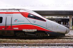 Trenitalia high speed trains (Italo, Frecciarossa and Frecciabianca) at the Venice St. Lucia railway stat Stock Images