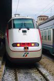 Trenitalia high speed trains (Italo, Frecciarossa and Frecciabianca) at the Venice St. Lucia railway stat Royalty Free Stock Image