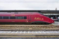 Trenitalia wysoka prędkość trenuje przy Wenecja St Lucia kolei stat (Italo, Frecciarossa i Frecciabianca,) Fotografia Royalty Free