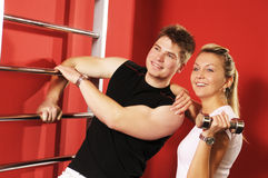 The trenning in fitness centre Stock Images