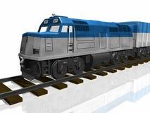 treno 3D sulle piste isolate Fotografia Stock