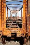 Treno abbandonato colore giallo a Uyuni, Bolivia Fotografia Stock Libera da Diritti