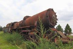 Treno abbandonato nell'erba Immagini Stock Libere da Diritti