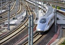 Treno ad alta velocità, ferrovia Fotografie Stock Libere da Diritti