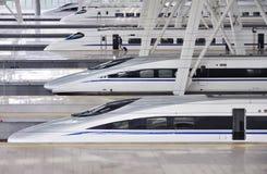 Treno ad alta velocità, ferrovia Fotografie Stock