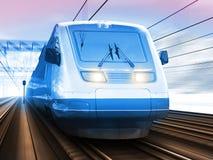 Treno ad alta velocità moderno nell'inverno Fotografia Stock