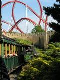 Treno al roller coaster Immagine Stock Libera da Diritti
