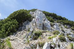 Treno Alta Via del Monte Baldo di Turistic, ridgeway in montagne di polizia Fotografie Stock