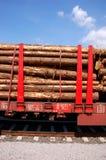 Treno caricato con gli alberi Fotografie Stock