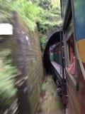 Treno che entra in un tunnel Fotografie Stock
