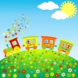 Treno colorato del giocattolo con i bambini felici illustrazione di stock
