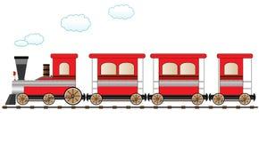 Treno commovente rosso Immagini Stock Libere da Diritti